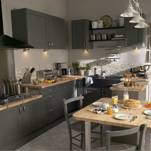 Meuble de cuisine gris DELINIA Nuage Maison Pinterest Mix