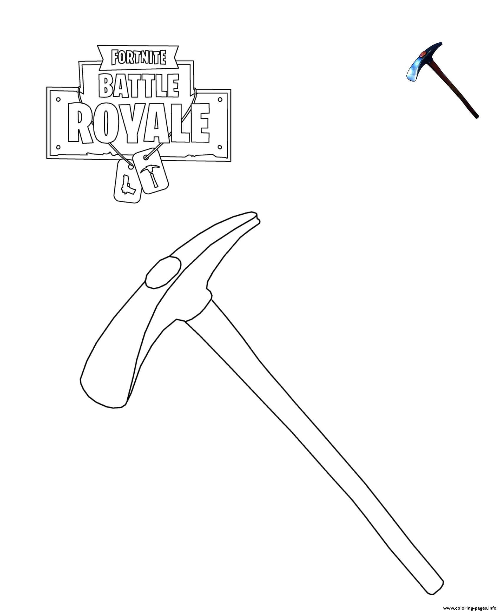 Print Default Pickaxe Fortnite Coloring Pages Jons 10th Birthday
