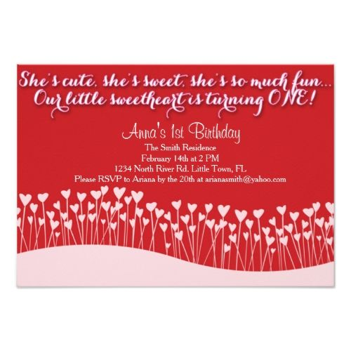 Valentineu0027s First Birthday Card Party invitations and Birthdays - invitation card for ist birthday