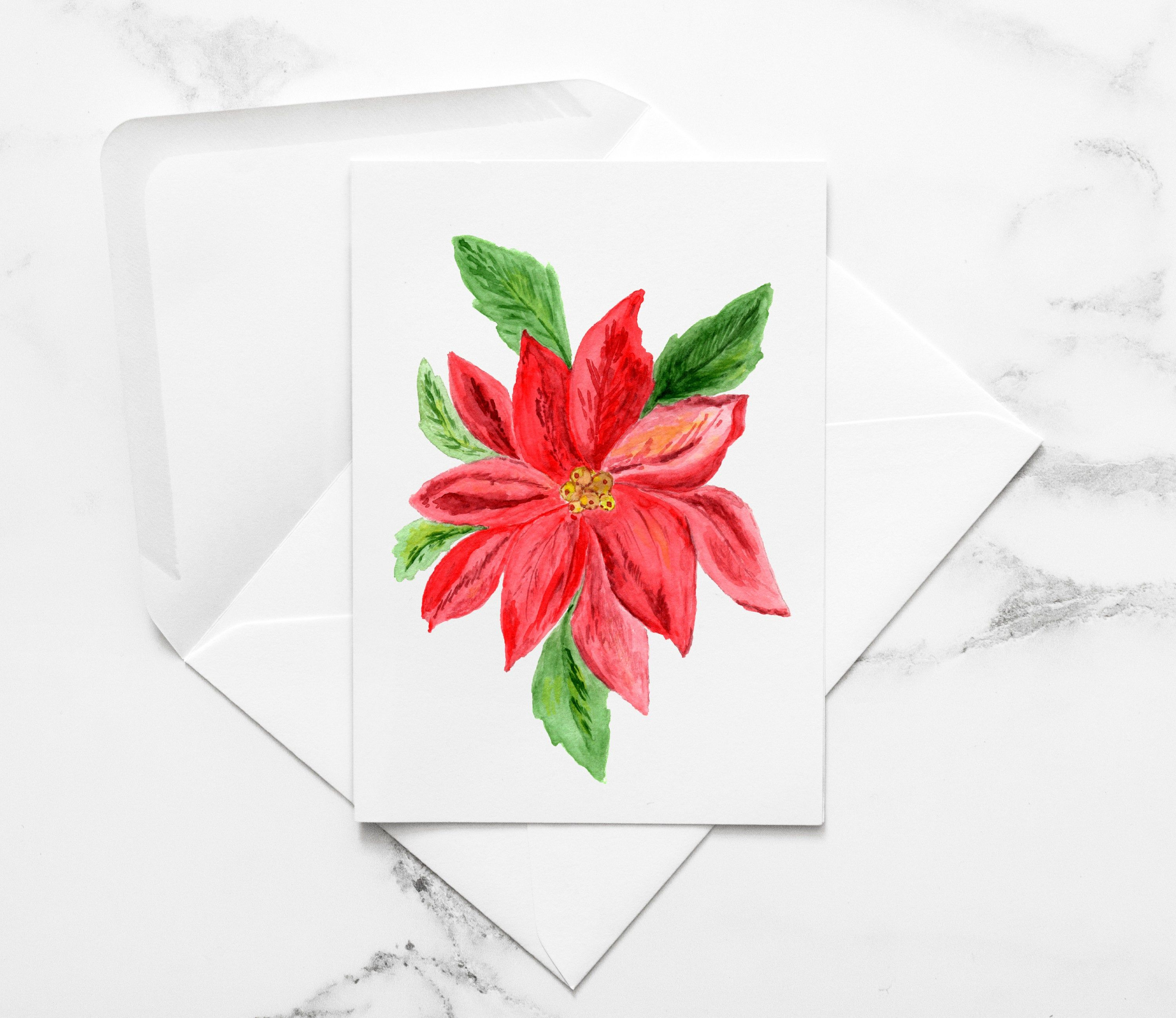 Poinsettia Note Cards December Birth Month Flower Set of 6