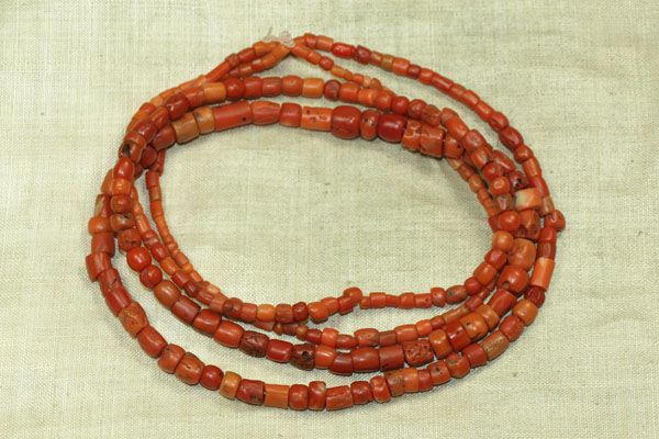 Bead Paradise - African Trade Beads - Strand of Rare Antique Nigerian Red Coral Beads