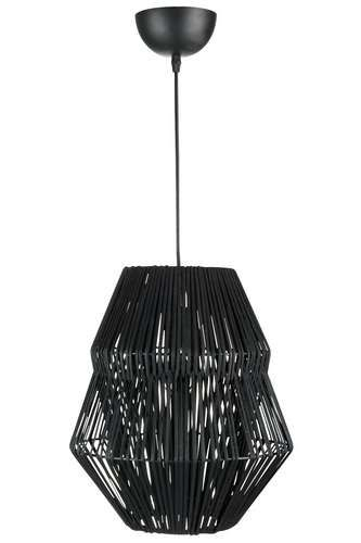 Lustre suspension en rotin noir