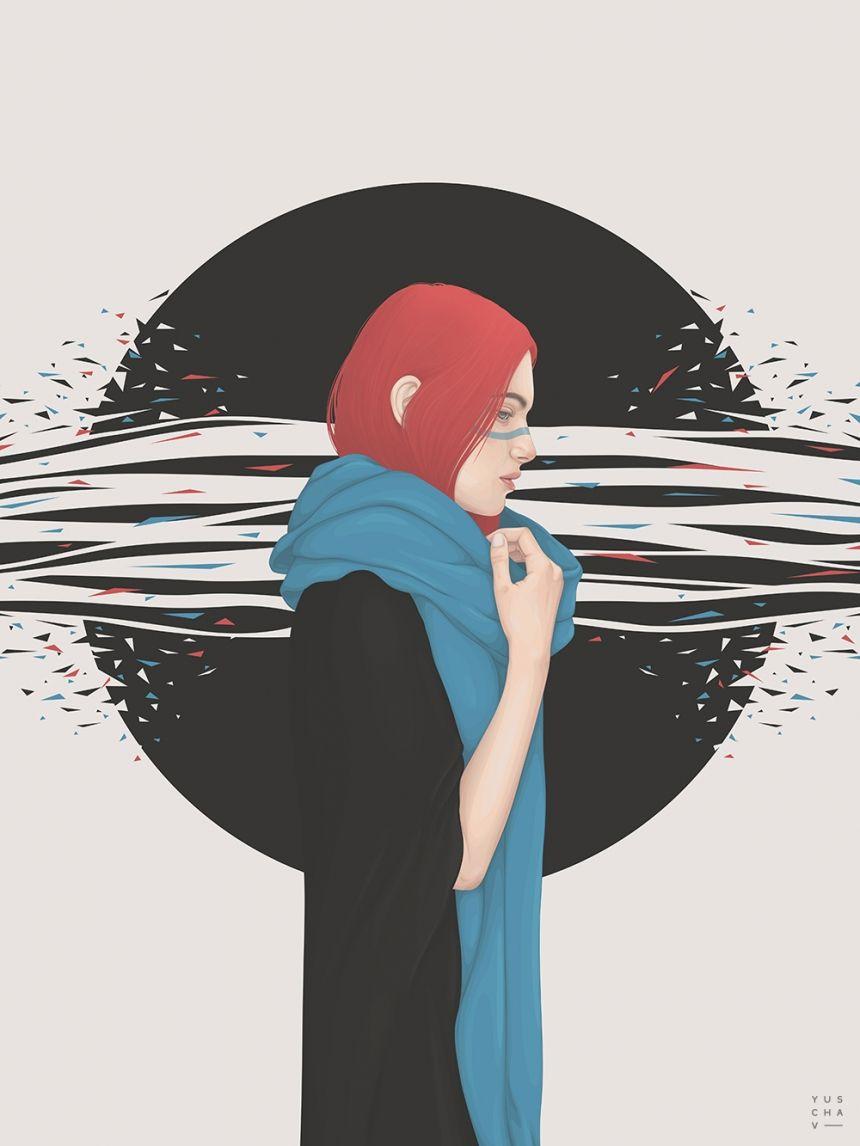 Illustrator Yuschav Arly's realistic digital portraits of fashionable women