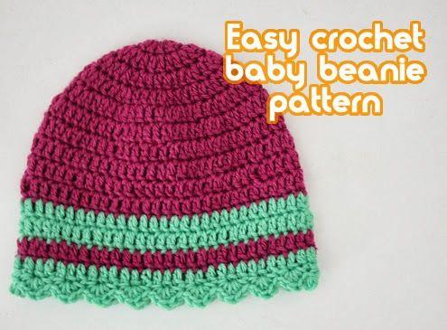 Easy baby beanie crochet pattern - Happy in Red   Crochet ...