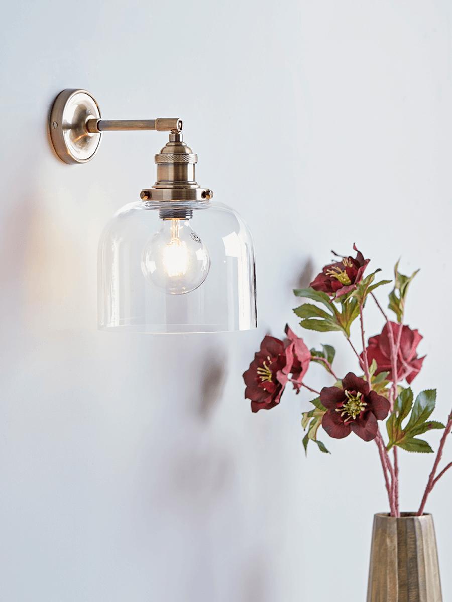 Brass Glass Wall Light Glass Wall Lights Indoor Wall Lights Copper Wall Light
