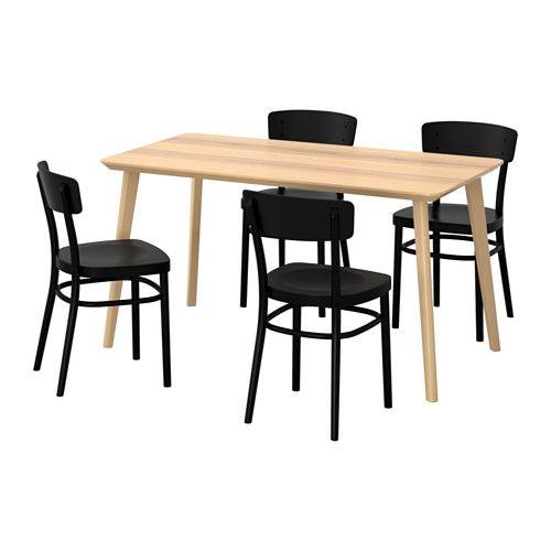 LISABO IDOLF Table et 4 chaises frªne plaqué noir