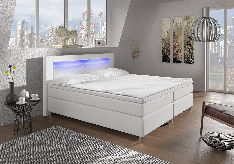 Boxspringbett 140x200 Mit LED Beleuchtung Und Chromleiste Hotelbett  Doppelbett Polsterbett Ehebett Amerikanisches Bett Chrom Modell Brüssel