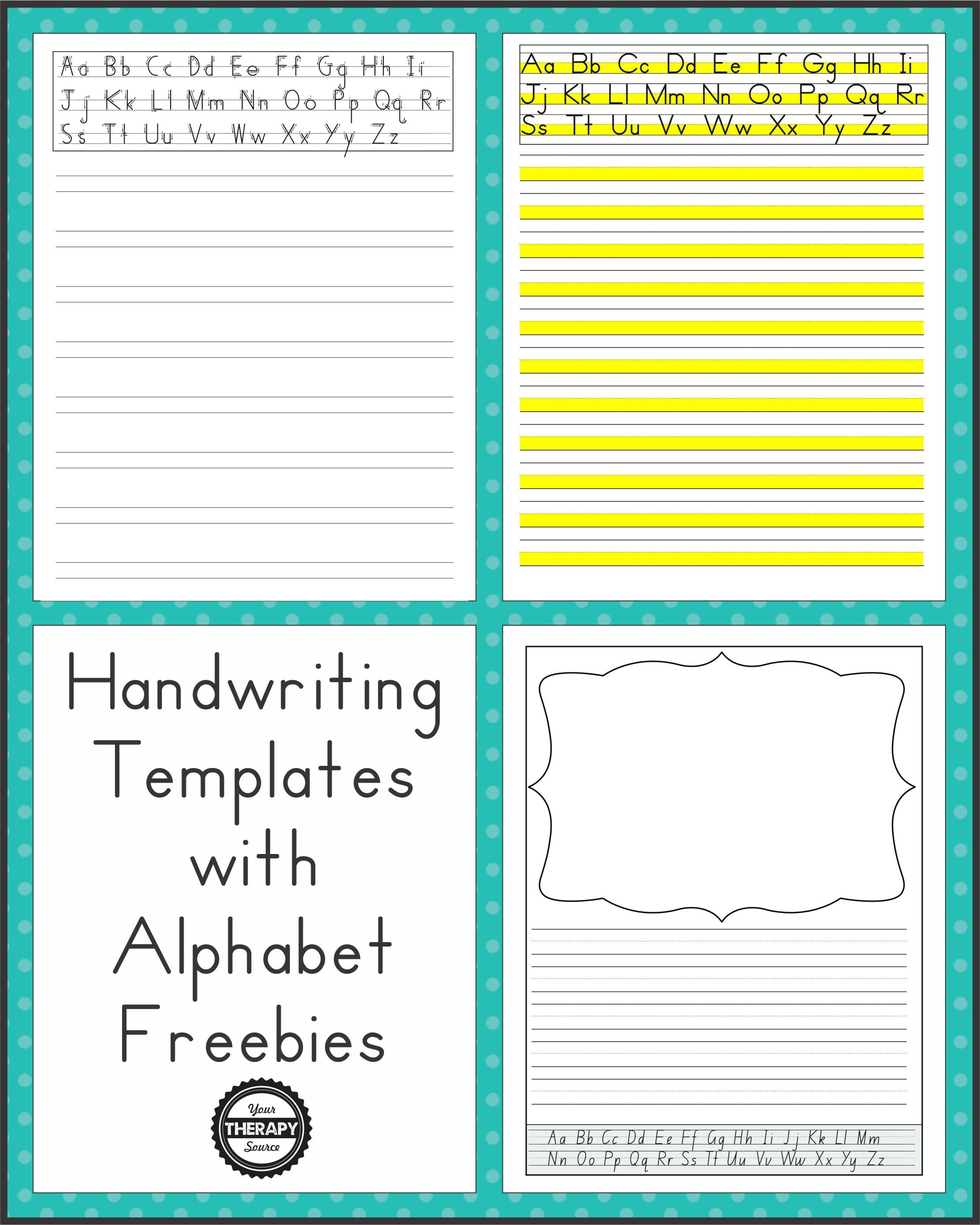 Handwriting Templates With Alphabet Guides Your Therapy Source Handwriting Template Handwriting Without Tears Handwriting Analysis Printable handwriting practice year 2