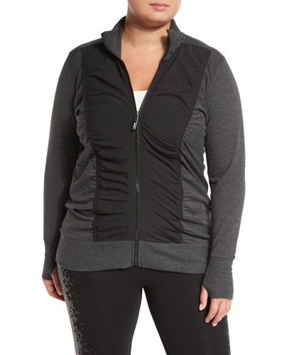 Ruched-Front Colorblock Jacket, Charcoal/Black, Plus Size