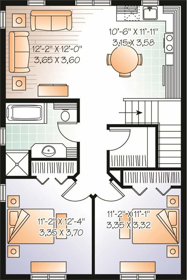 Garage W Apartments Home Plan 2 Bedrms 1 Baths 1042 Sq Ft