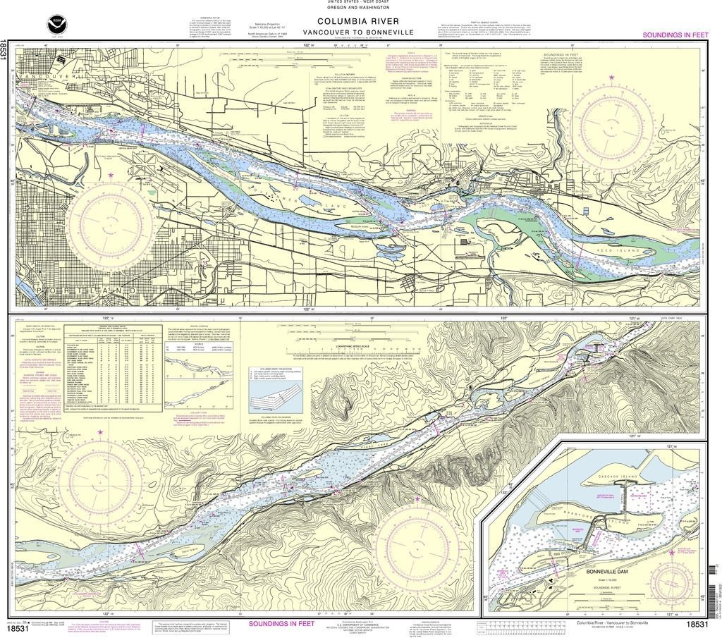 Noaa Nautical Chart 18531 Columbia River Vancouver To Bonneville Bonneville Dam Bonneville Dam Columbia River Travel Map Pins
