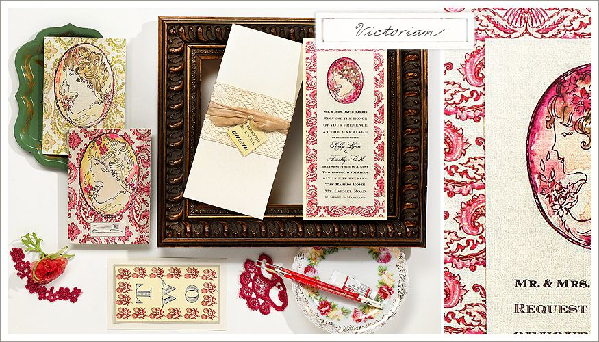 Art nouveau inspired hand painted Wedding Stationery from Momental Designs