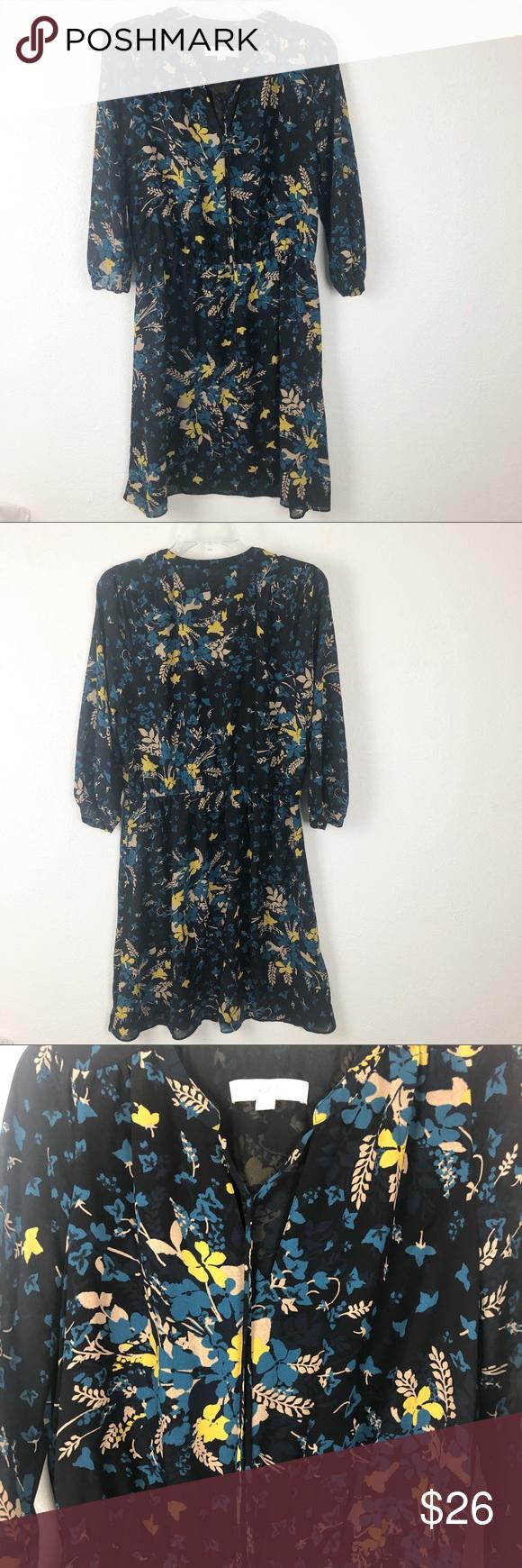 Loft Floral Black Dress 3 4 Sleeve V Neck M Loft Black Dress With Blue Yellow Flowers And Tan Leaves 3 4 Length S Floral Dress Black Black Floral Black Dress [ 1740 x 580 Pixel ]