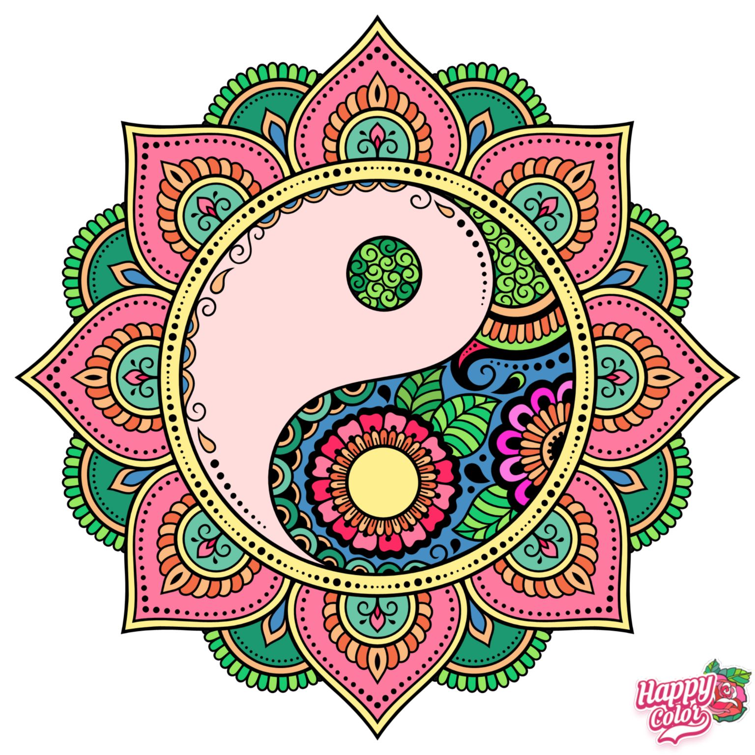 Pin By Clauduh On I Love To Color Happy Colors Colorful Art Mandala