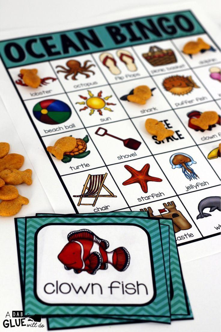Ocean BINGO Fun activities for preschoolers, Learning