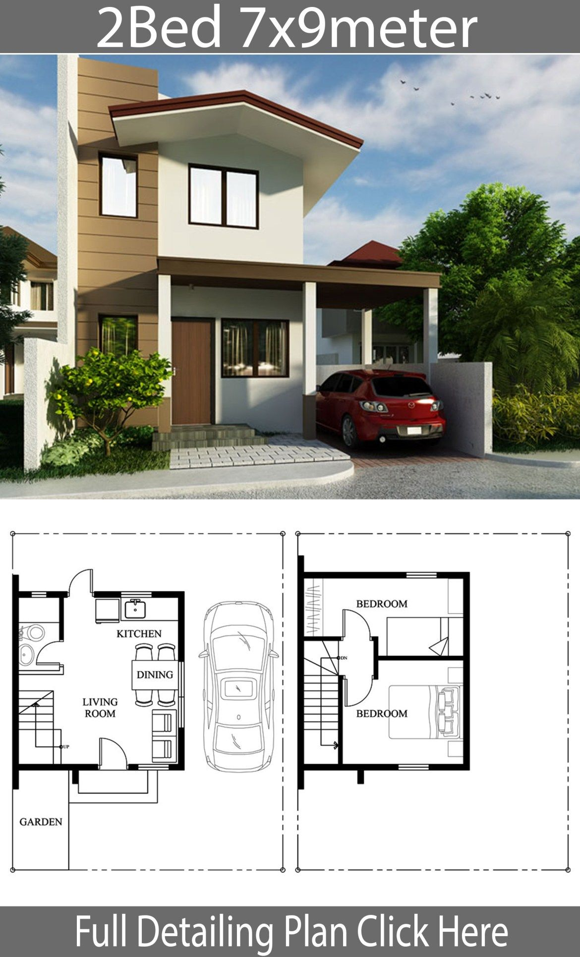 Small Home Design Plan 7x9m With 2 Bedrooms Home Planssearch House Design Small House Design 2 Bedroom House Design