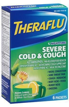 Theraflu Nighttime Severe Cold Cough Packets Honey Lemon
