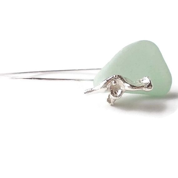 Seaglass and silver earrings   ArteSana Jewellery