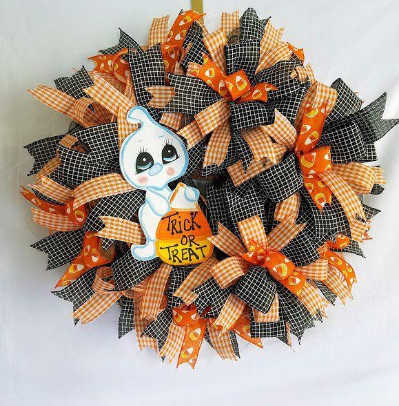 Halloween Ghost Wreath, Ghost Wreath, Halloween Door Decor - halloween ghost decor