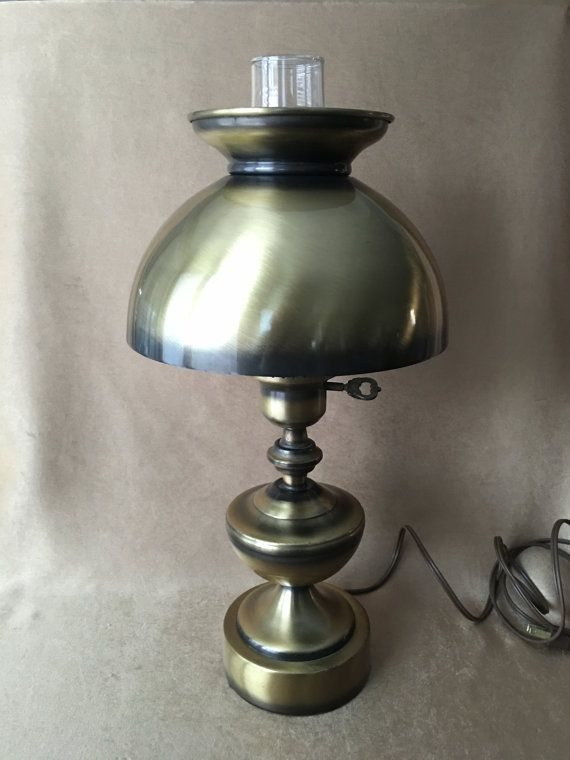 Vintage 50s Lamp Brushed Brass, Underwriters Laboratories Portable Lamp E 20773