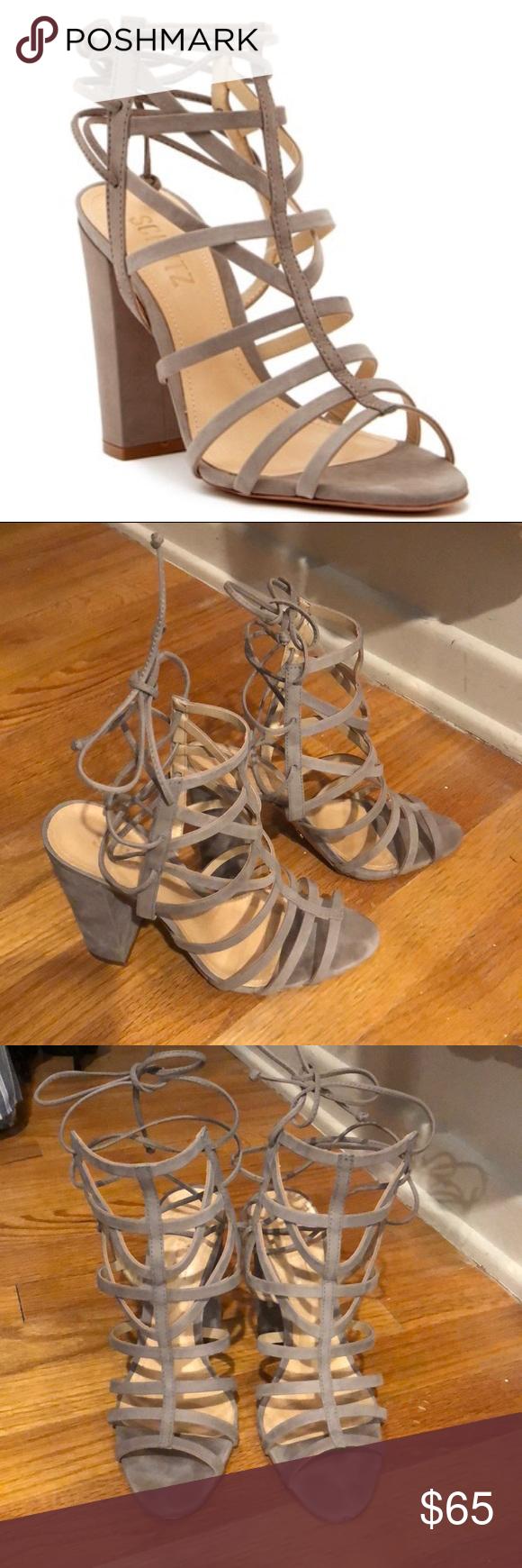 Schutz Loriana Caged Block Heel Sandal Size 7 Beautiful Schutz caged block heel sandals in grey/taup...