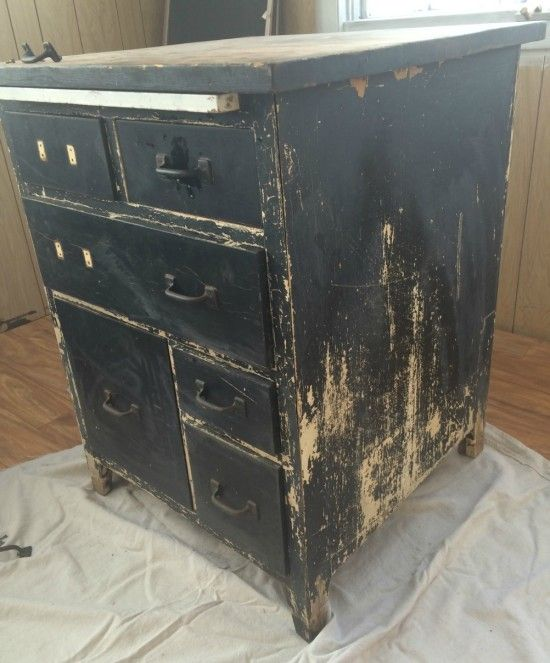 Antique baking cabinet before - Refinished Antique Baker's Cabinet - Reused To Create Custom