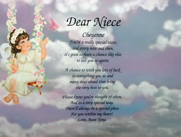 Special Wedding Gift For Niece : ... Niece Niece Poem Personalized Angel Litho Print Birthday Gift eBay