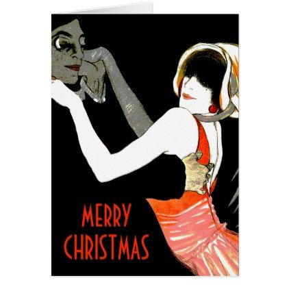 Retro Couple Dancing Red Black Christmas Card