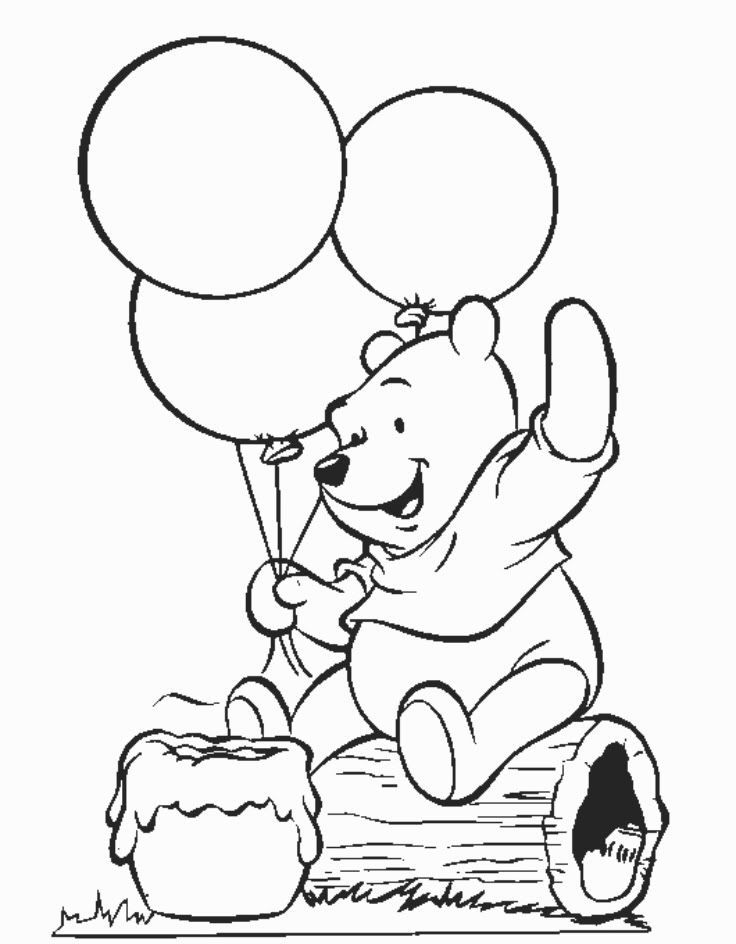 Baby Winnie The Pooh Coloring Bear Coloring Pages Baby Coloring Pages Birthday Coloring Pages