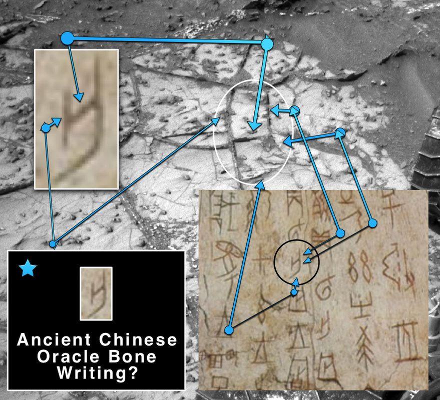 Ancient Oracle Bone Writing On Mars?