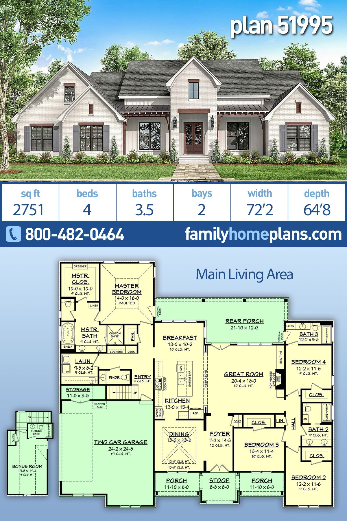 Country Farmhouse Traditional Style House Plan 51995 With 4 Bed