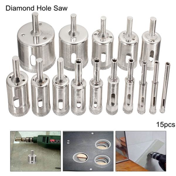 Drillpro Db Hs1 15pcs 6 50mm Diamond Hole Saw Drill Bit Set Tile