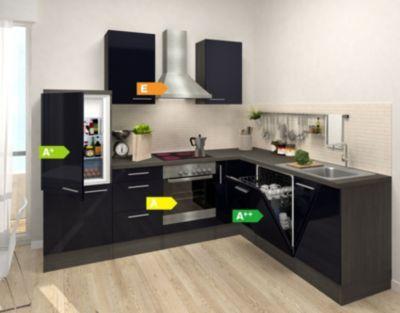 Respekta Premium Winkelküche RP260ESC 260 x 200 cm Schwarz-Eiche - küchenzeile 220 cm mit elektrogeräten
