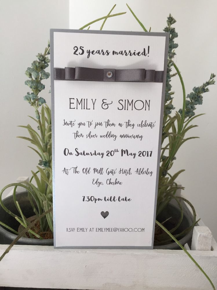 10 Handmade And Personalised Silver Wedding Anniversary Invitations ...