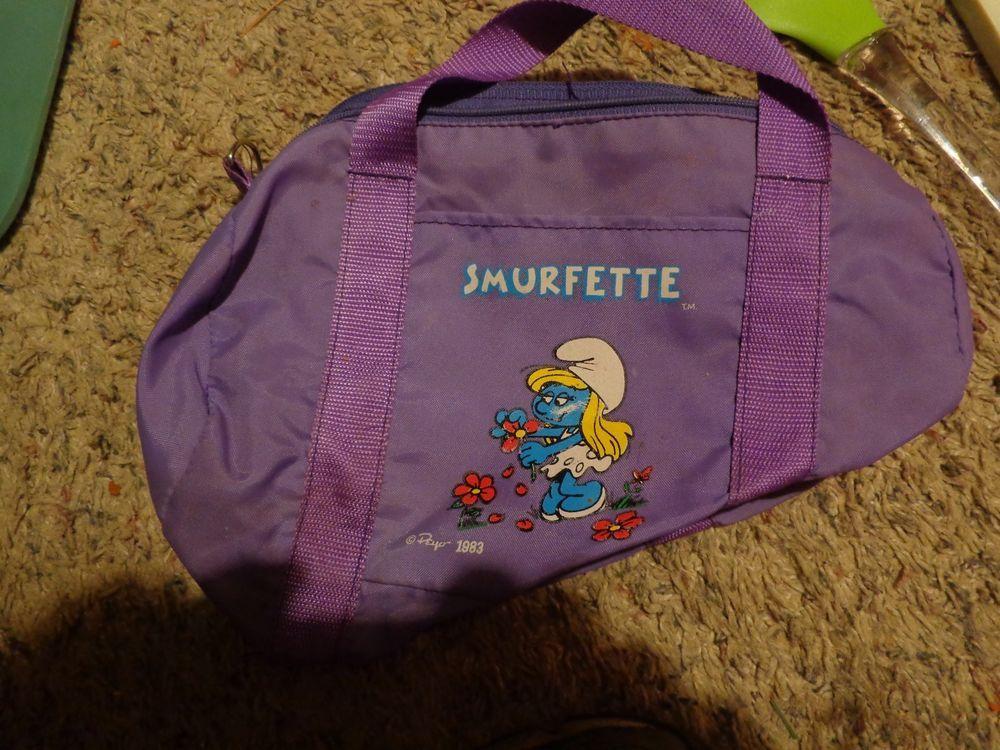 Vintage SMURFETTE Small Tote Duffel Bag Cheerleader 80's