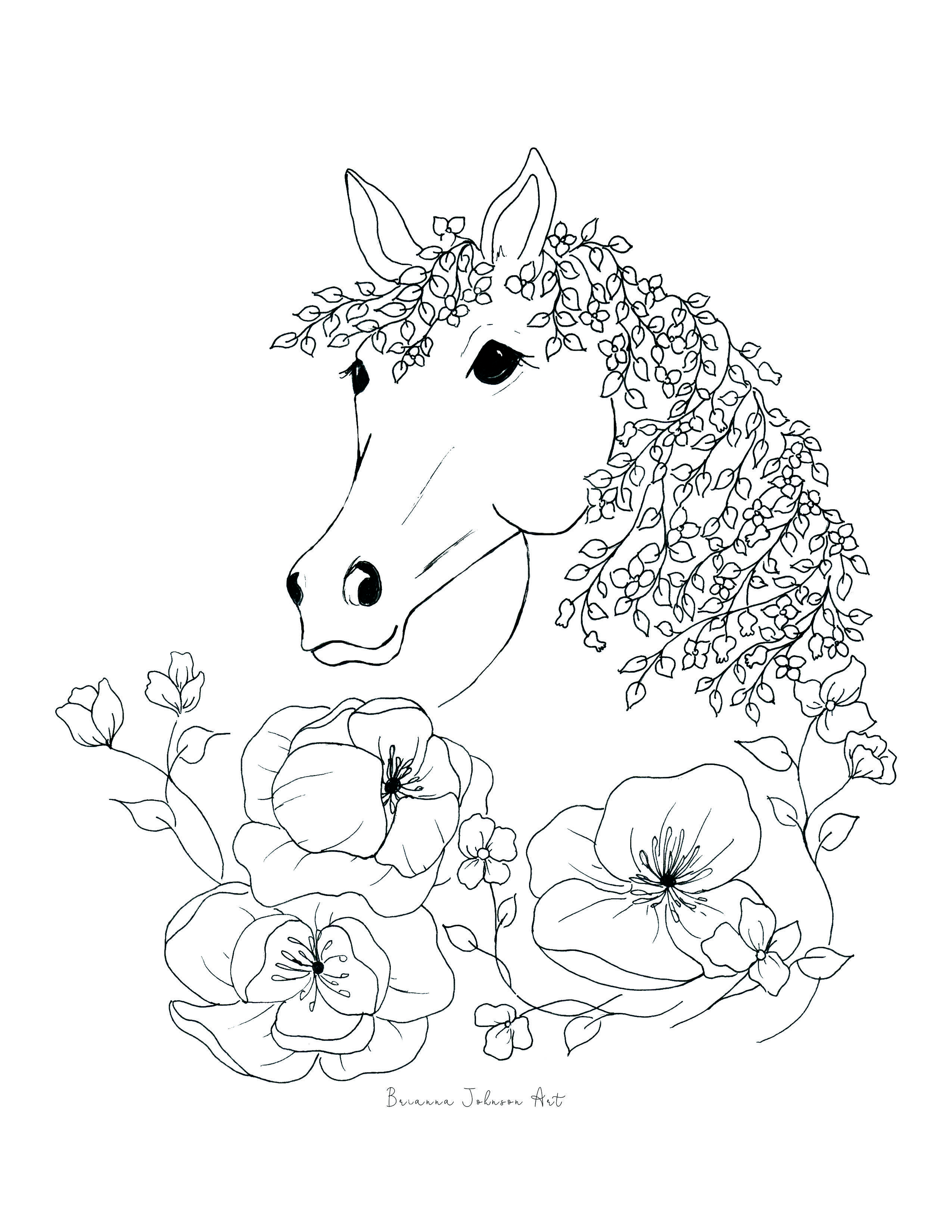 Printable Horse Coloring Book Page For Kids And Adults Horse Coloring Pages Horse Coloring Books Coloring Pages [ 3300 x 2550 Pixel ]