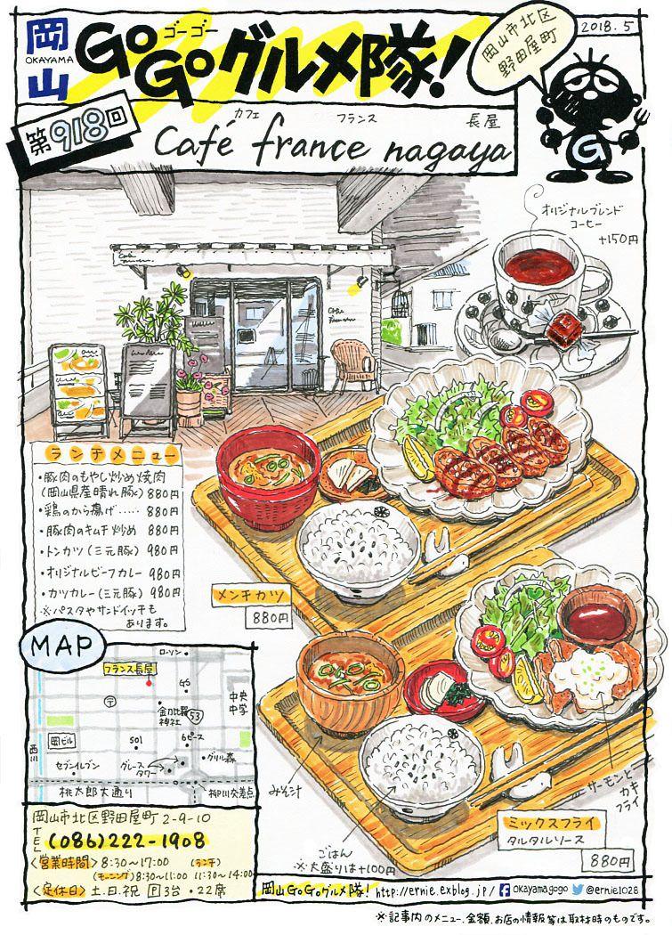 岡山 Go Go グルメ隊 食品の描画 食べ物 イラスト 食品アート