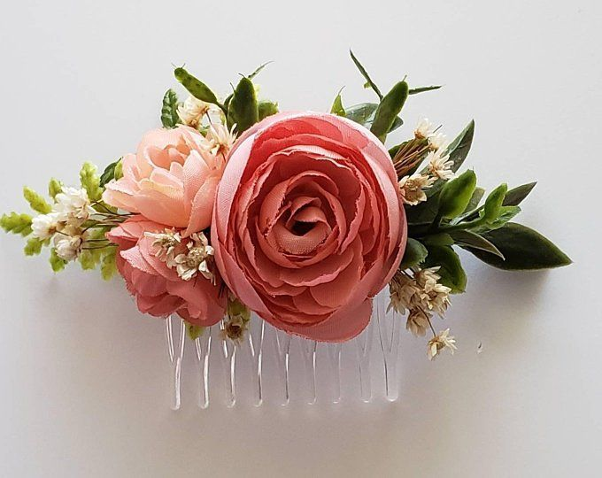 Rose Wedding Comb, Blush Pink Floral Wedding Headpiece, Blush Flower Wedding Comb, Flower Hair Comb, Gifts for Her, Bridal Comb