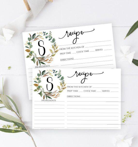 Monogram Recipe Card Printable Recipe Card Bridal Shower Etsy Bridal Shower Recipes Cards Recipe Cards Template Etsy Bridal Shower