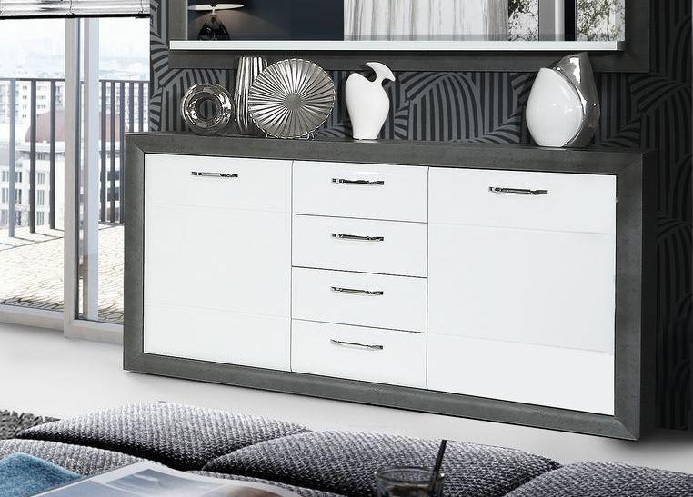 Sideboard Betonoptik Dunkelgrau  Weiss Hochglanz Woody 77-01195 - wohnzimmer weiß hochglanz