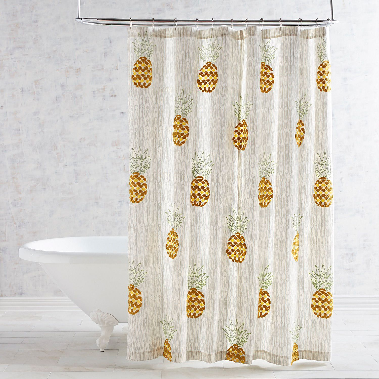 Embroidered Pineapple Shower Curtain Pineapple Shower Curtain