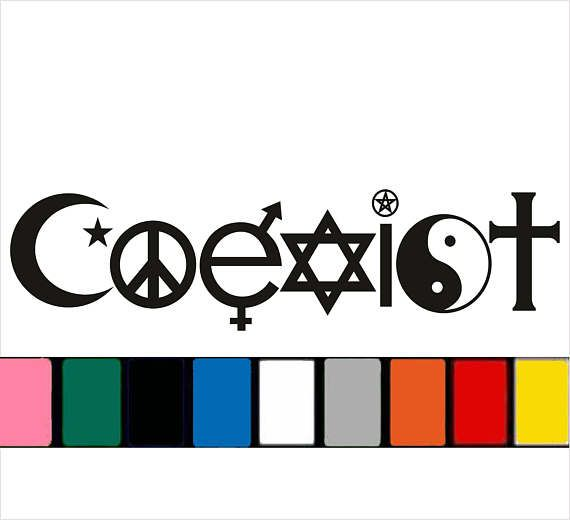 Coexist decal for cars trucks bumbers bumper sticker funny peace hippie 9 different colors