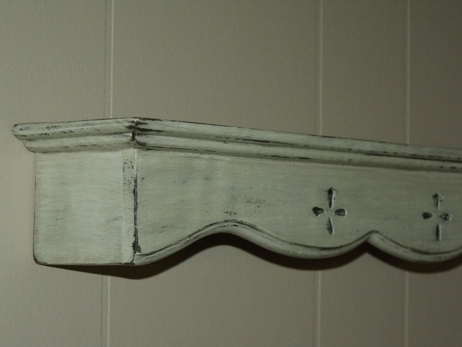 Distressed Shelf, Shabby CHIC, French Country, White Primitive Plate ...