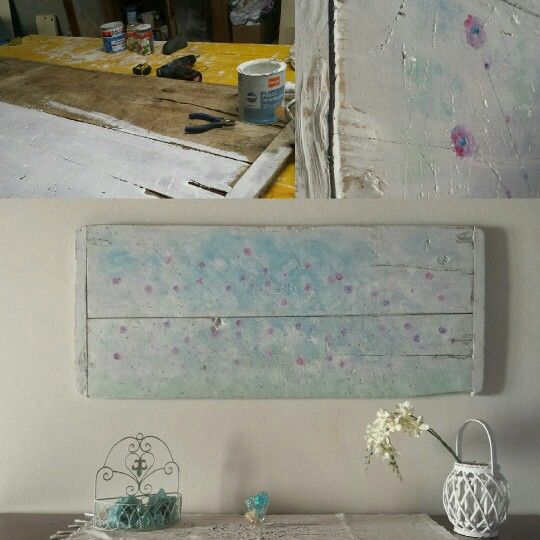 Vecchio tagliere trasformato in pannello decorativo da parete