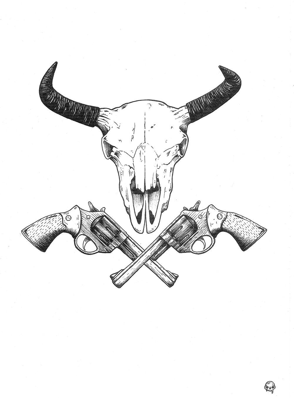 a0af8fc37502e Skull & guns | Tattoo | Bull skull tattoos, Cow skull tattoos, 100 ...