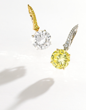 Pair of 18 Karat Two-Color Gold, Fancy Color Diamond and Diamond Earrings - Sotheby's