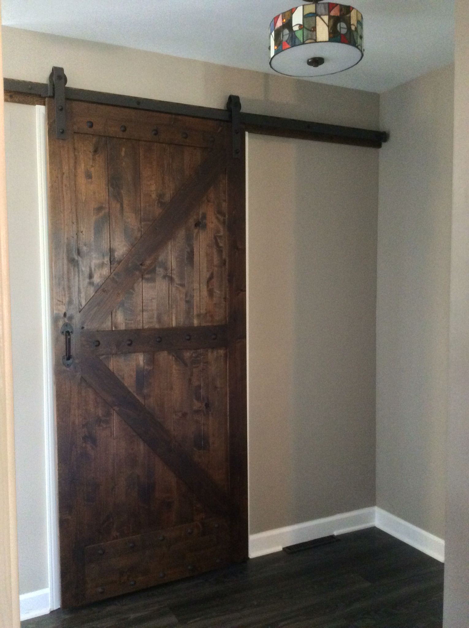 Love My Barn Door For My Pantry It Saves So Much Room Distressed With Rounded Edges 3 Coats Of Poly Over A Dark Old Barn Doors Barn Door Barn Door Designs