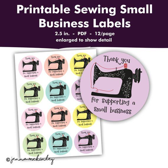 Printable Sewing Machine Thank You Seller Small Business Card