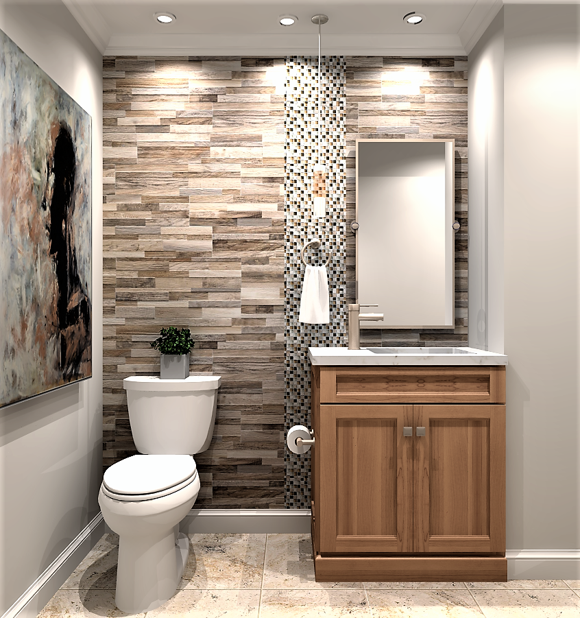 Small Powder Room Design Wood Vanity Cabinetry Bringing