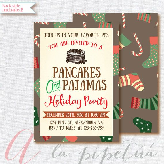 Christmas Invitation, Pancakes and Pajamas Invitation, Christmas - printable ticket invitations